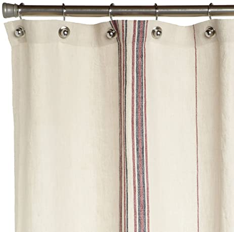 Amazon.com: Coyuchi Rustic Linen Shower Curtain, Natural with Red ...