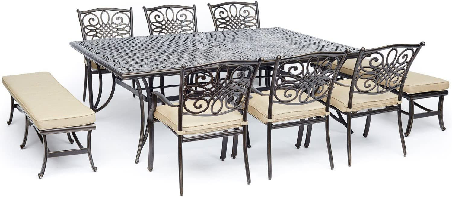 Hanover TRADDN9PCBN-TAN 9 Piece Traditions Dining Set, Tan