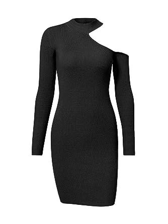 bdbb5fb9adfe09 Terryfy Damen Kurz Kleid Sexy Figurbetont Cold Shoulder Langarm Strick Mini Dress  Schwarz  Amazon.de  Bekleidung
