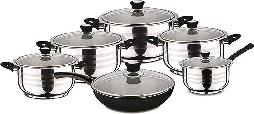 Swiss Home Zurich Black Cookware Set Stainless Steel Silver 30 X 30 X 30 Cm Amazon Co Uk Kitchen Home
