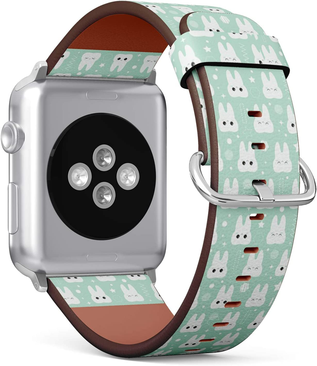 Compatible with Small Apple Watch 38mm & 40mm (Series 5, 4, 3, 2, 1) Leather Watch Wrist Band Strap Bracelet with Stainless Steel Clasp and Adapters (Teeth Dentistry Health Care Cute)