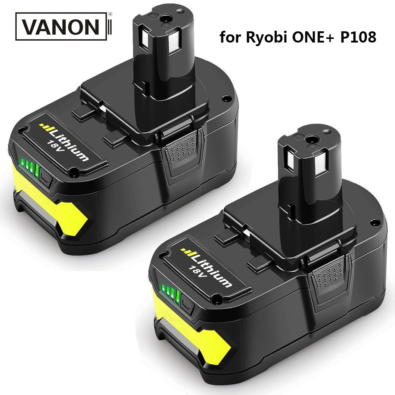 18V 6.0ah Lithium Ion Battery for Ryobi ONE+ P104 P105 P102 P103 P107 P108 P507 BPL-1815 BPL-1820G BPL18151 BPL1820 Cordless Power Tools (2-Pack)