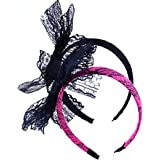 LEKUSHA Women's 80s Costume Accessories Neon Lace Headband Hair Band with Bow, Set of 2