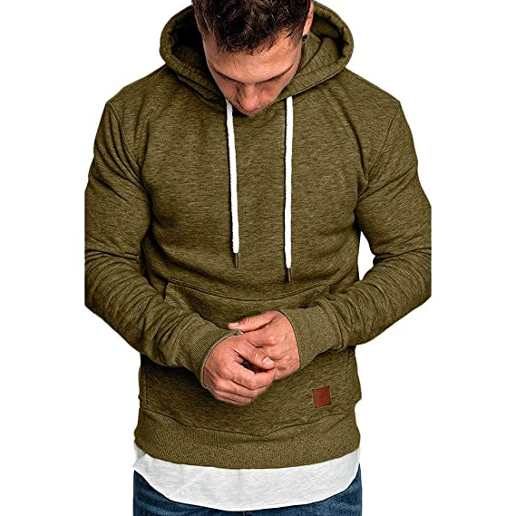 6d99f46a021 Forthery Men s Hoodies Pullover Sweatshirt Warm Winter Heavy Fleece Hooded  US Size S   Tag M