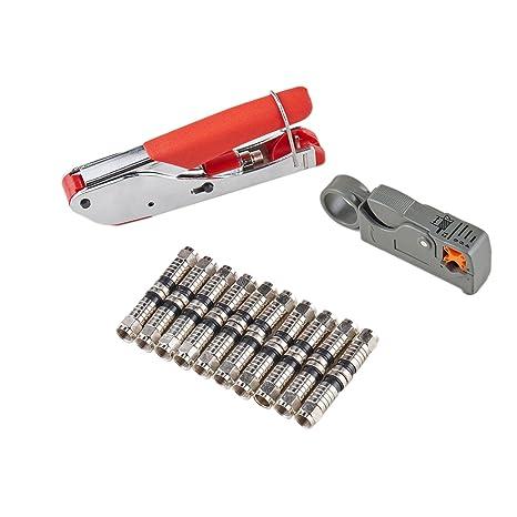 Coaxial cable crimpadora de compresión coaxial kit de herramienta pelacables con F RG6 RG59 Conectores