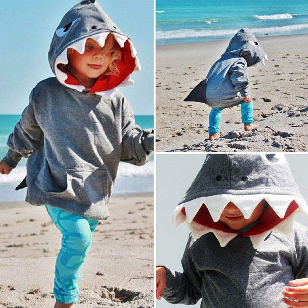 Amazon.com: Coper Fashion Outfits, Toddler Baby Boys Girls Long Sleeves Cartoon Shark Hooded Tops Shirt: Baby