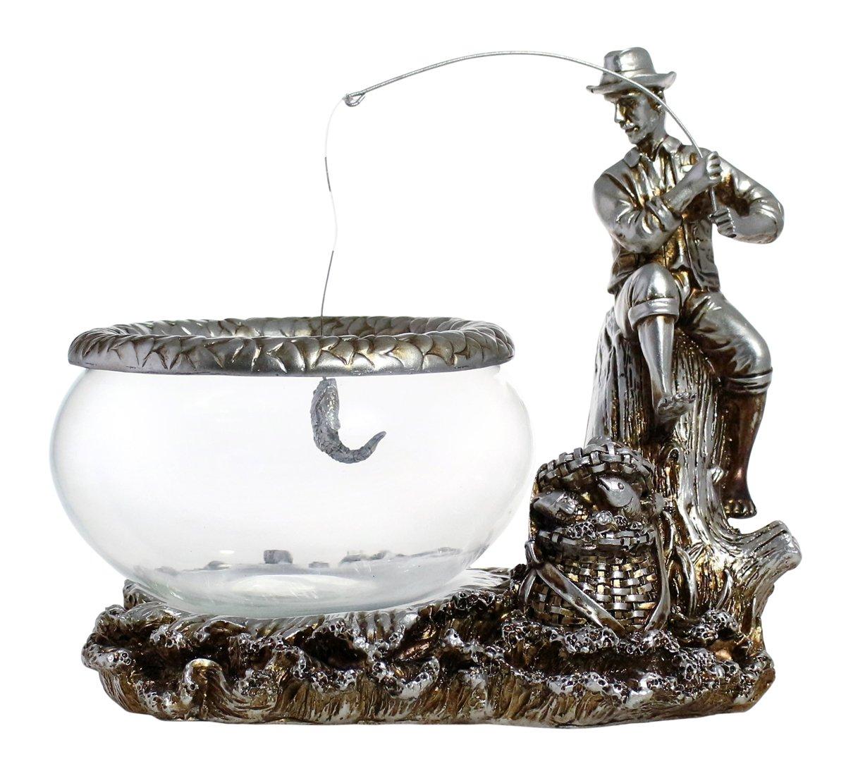 Classic Style Vintage Glass Fish Bowl Tank - Country Fellow Fishing on a Tree Trunk | 0.26 Gallon | Fishbowl Measured 6.1''x6.1''x3.1'' | Goldfish | Betta Fish | Guppies | Aquatic Plants | Chlorella