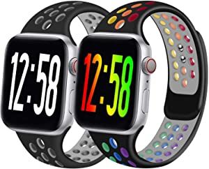 Geoumy 2 Pack Sport Band Compatible for Apple Watch Bands 38mm 40mm 42mm 44mm, Breathable Soft Silicone Band Replacement Wristband Men Women Compatible with iWatch Series 1/2/3/4/5/6 SE