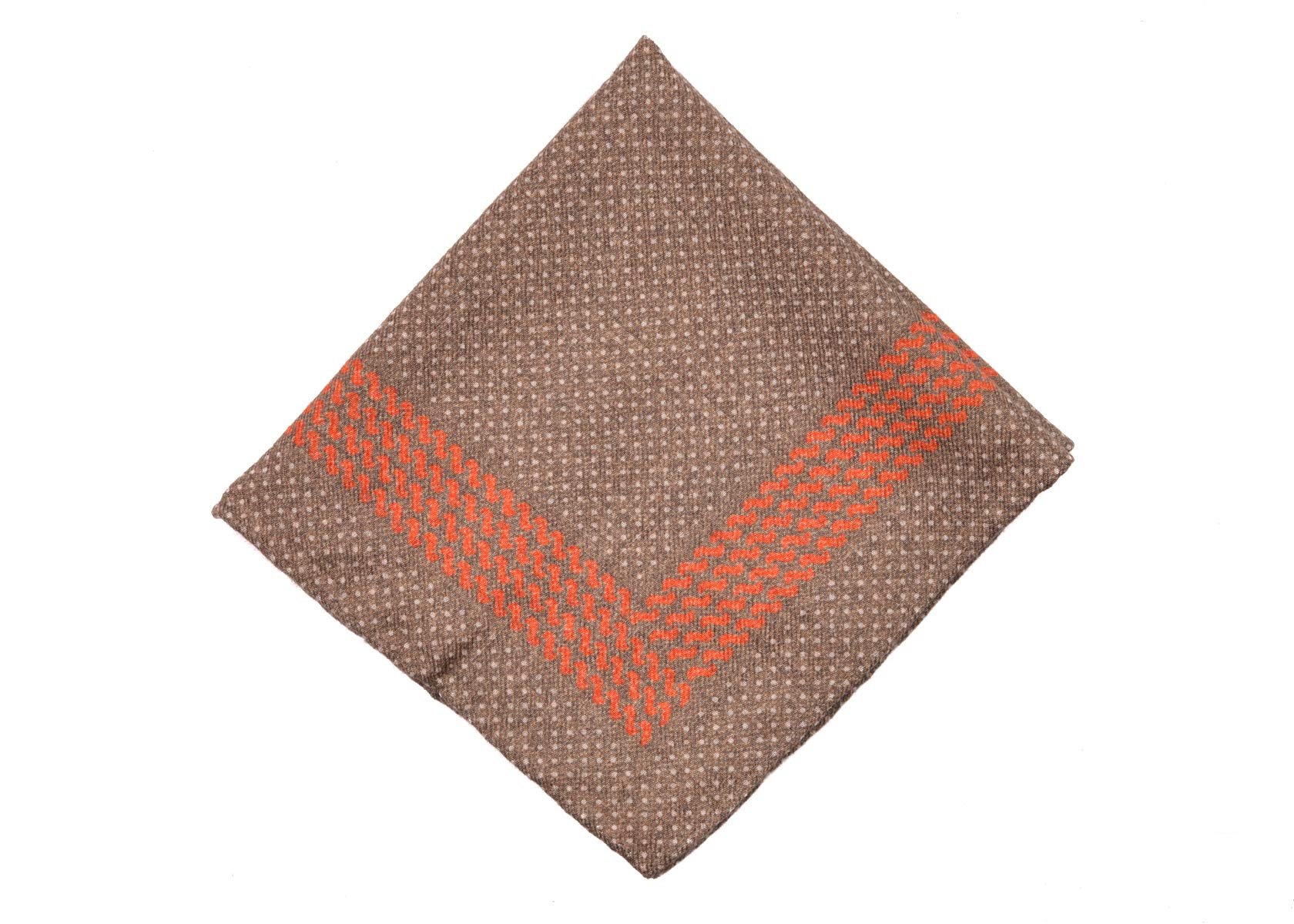 Brunello Cucinelli Mens Brown Dots Wool Blend Pocket Square One Size~Retail$225