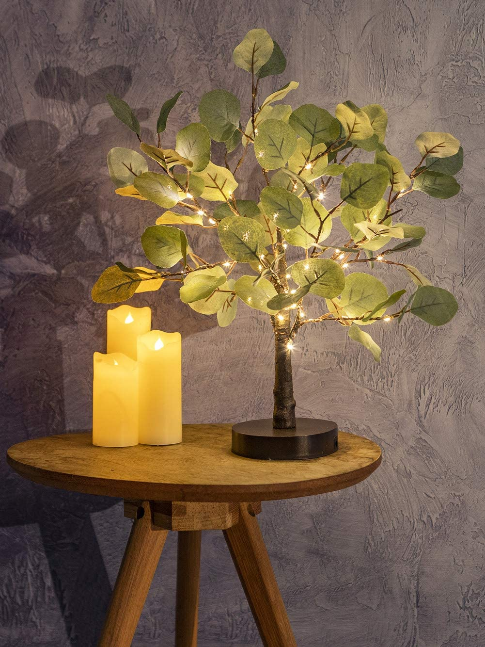 Decorative Lighted Tree |LED Warm White USB Battery Operated Tree Lamp | Artificial Tree Lights with Timer |Table Top Tree Decor Easter Valentines Holiday Home Chiristmas (Green, 18inch)