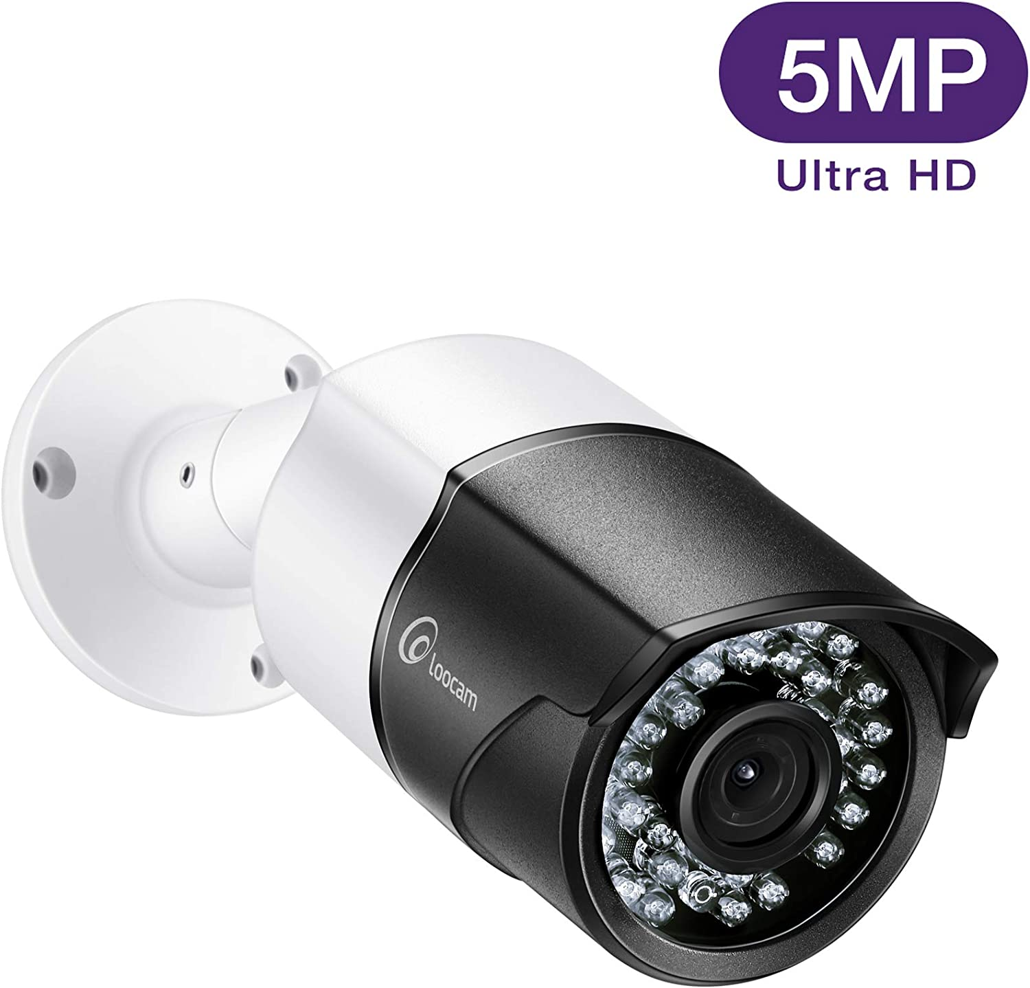Loocam HD 5MP 2592×1920 Security Camera Outdoor Indoor, Video Surveillance Home Metal Housing CCTV Bullet Camera, 150ft EXIR Night Vision with Wide Angle, IP67 Weatherproof, Black and White