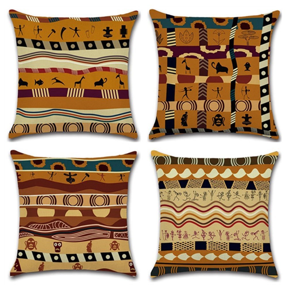 KACOPOL Ethnic African Style Series Throw Pillow Covers Cotton Linen Pillowcase Cushion Cover Home Office Decor Square 18'' X 18'' Set of 4 (African Style)