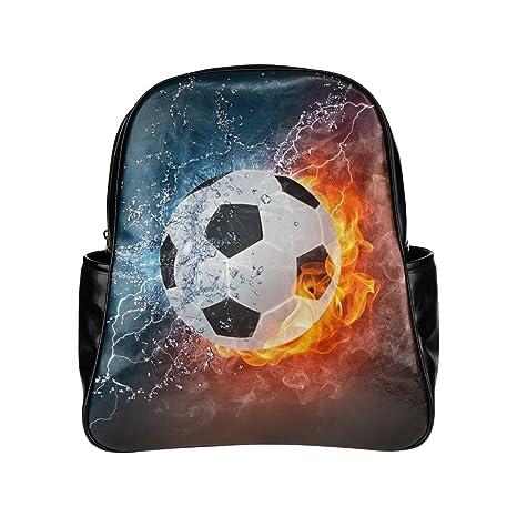 Custom Fútbol de hielo y fuego con varios bolsillos mochila escolar bolsa de viaje