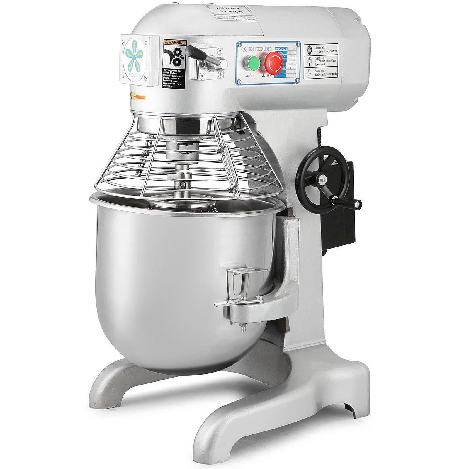 Happybuy Commercial Food Mixer 1100W Dough Mixer Maker 3 Speeds Adjustable Commercial Mixer Grinder 94/165/386 RPM Stand Mixer (30 qt)