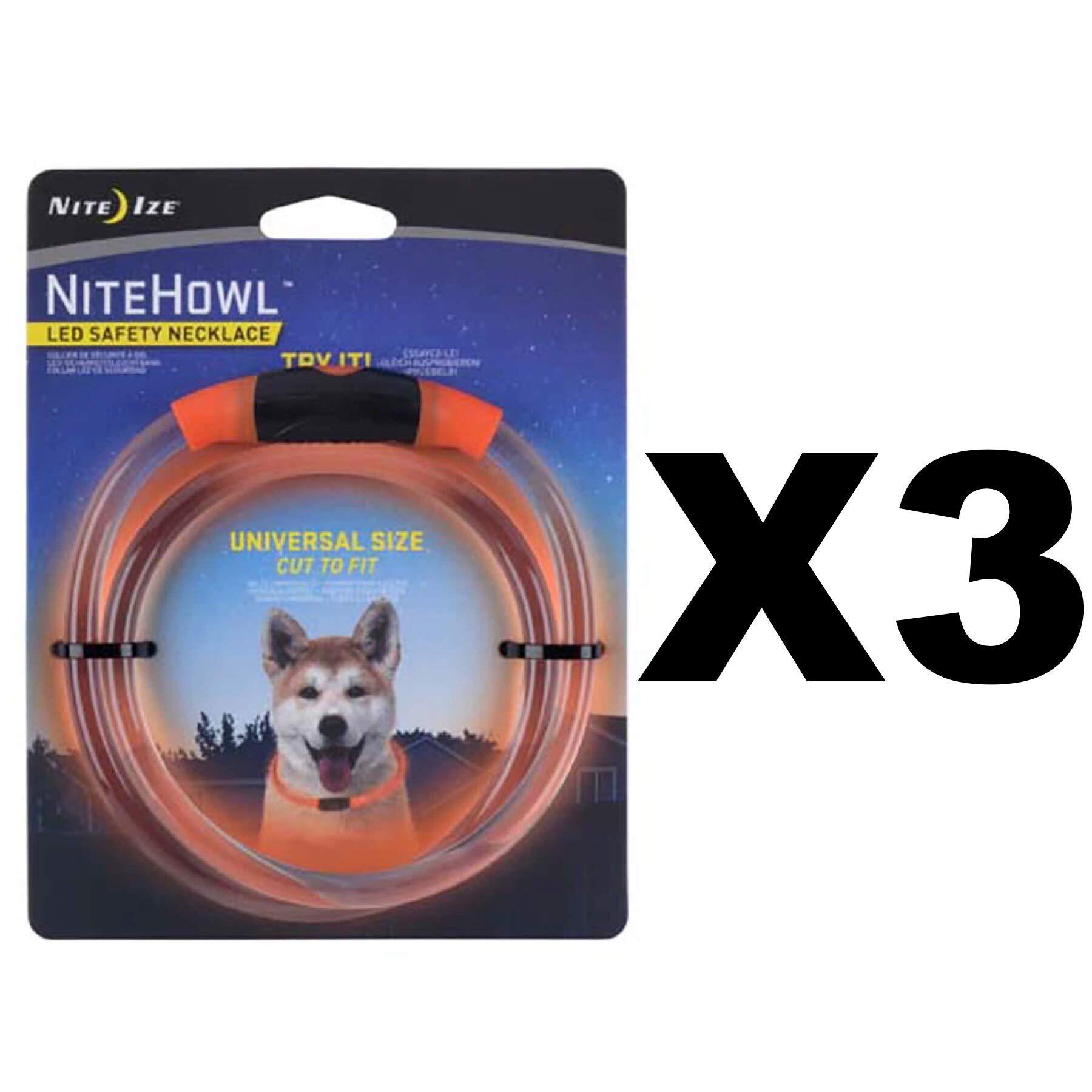 Nite Ize NiteHowl LED Safety Necklace Orange Pet Collar Glows & Flashes (3-Pack) by Nite Ize