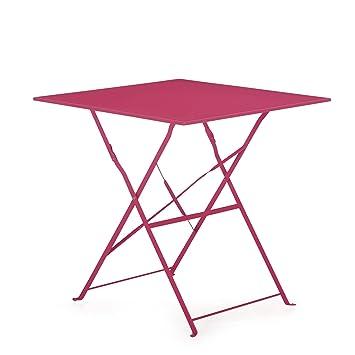Pims Table de jardin pliante rose en acier: Amazon.fr ...