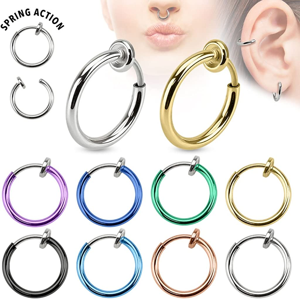 Sold Ind. Ear and Nose Hoop West Coast Jewelry Spring Action Titanium IP Over Surgical Steel Non-Piercing Septum