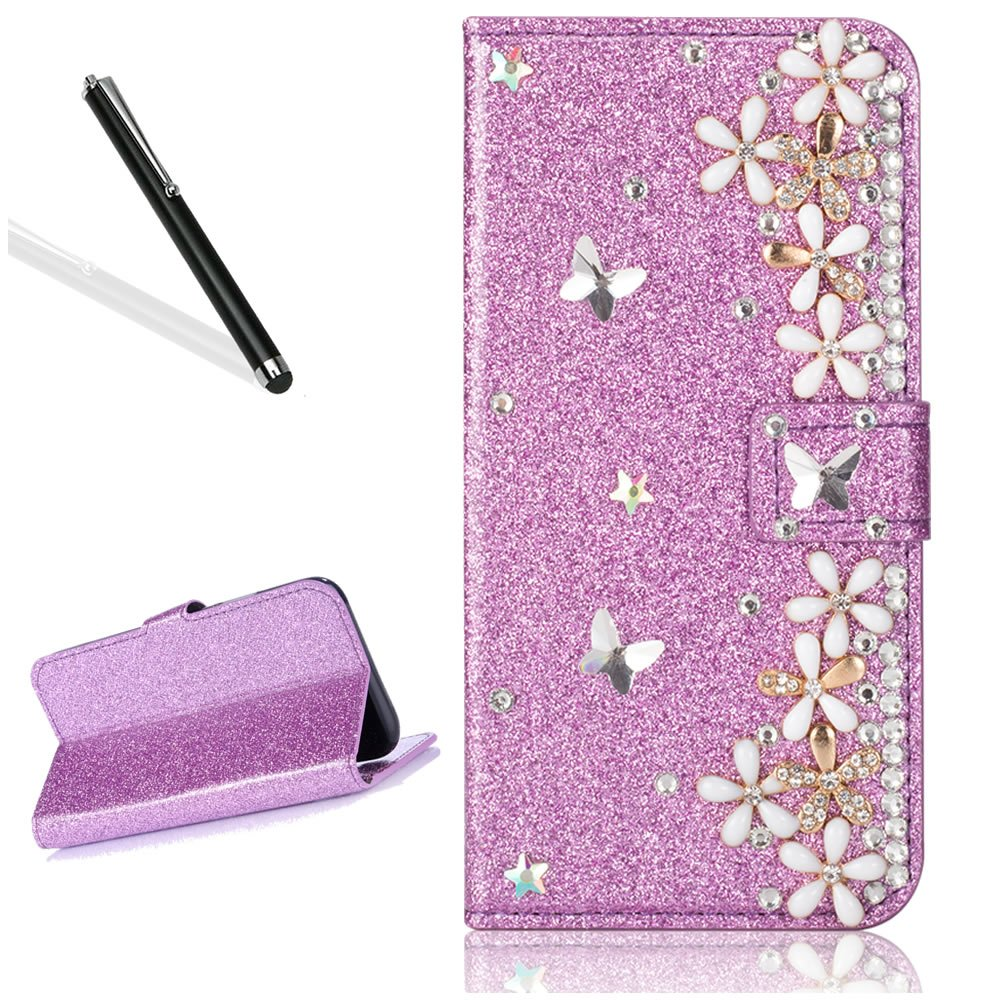 Galaxy A5 2017 Diamand Case,Bling Glitter Folio Case for Samsung A5 2017,Leecase Luxury Noble Sparkle Shining Purple Butterfly Flower Pattern Protect Cover for Samsung Galaxy A5 2017
