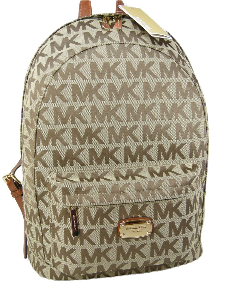 c1321ab15a7e Galleon - MICHAEL Michael Kors Large Canvas Jet Set Backpack (Beige Luggage)