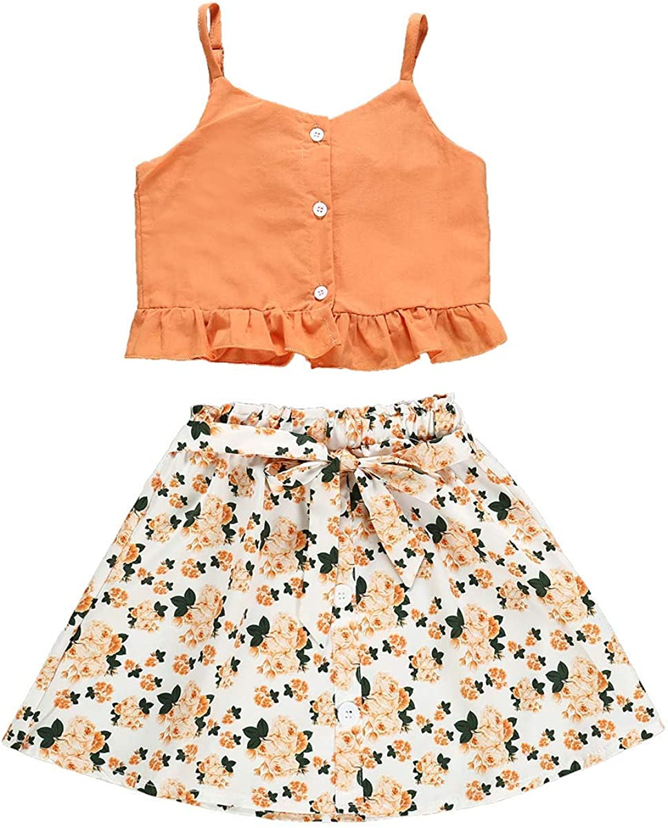 Toddler Baby Girls Clothes Halter Crop Strap Tops Floral Maxi Skirts Shorts Kids Summer Clothes Set
