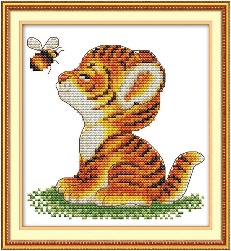 Cgration Tiger And Bee DIY Costura hecha a mano contada 14CT Impreso Kit de bordado de punto de cruz Set Decoración del hogar