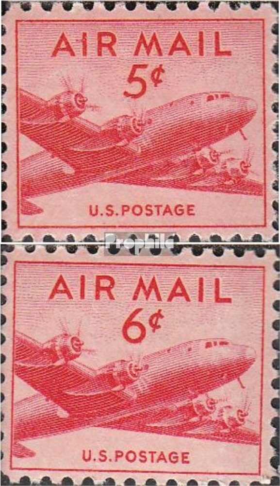 Complete.Issue. U.S 1947 Post Flight Marks: Douglas DC-4 Stamps for Collectors Aviation 552-553