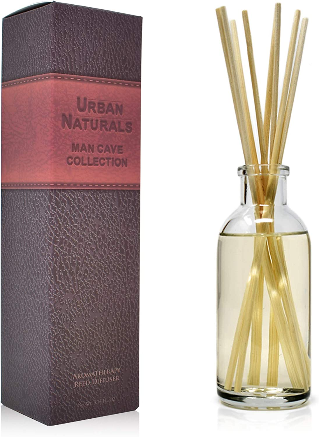Urban Naturals Leather Mahogany Reed Diffuser Oil Set with Reed Sticks – Masculine Blend of Smoky Bergamot, Leather, Spice, Amber and Wood - Made in The USA