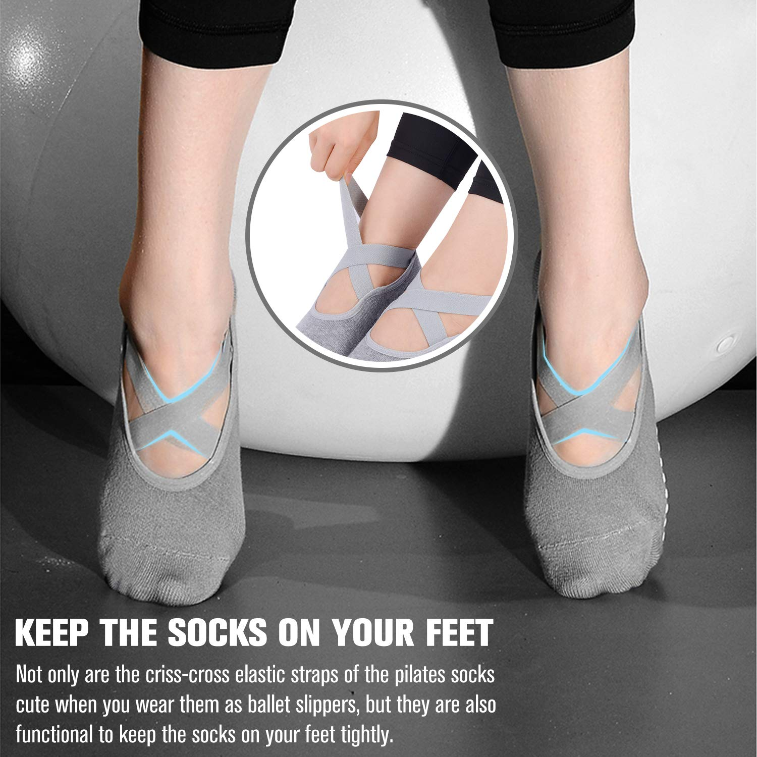 Yoga Grip Socks for Woman,Pilates Socks with Keeping-on Straps,SemiShare Non-Slip Barre Sticky Socks for Pilates Dance Pure Barre Ballet