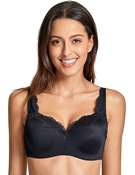 a19361e4b6b9e DELIMIRA Women s Underwire Smooth Lightly Lined Supportive Bra Black 34B