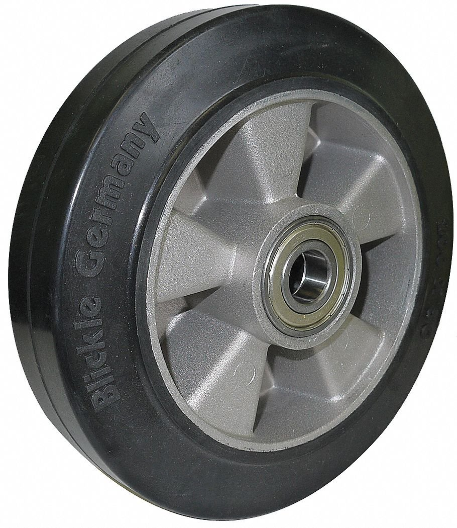 6-1/4'' Caster Wheel, 880 lb. Load Rating, Wheel Width 2'', Rubber, Fits Axle Dia. 3/4''