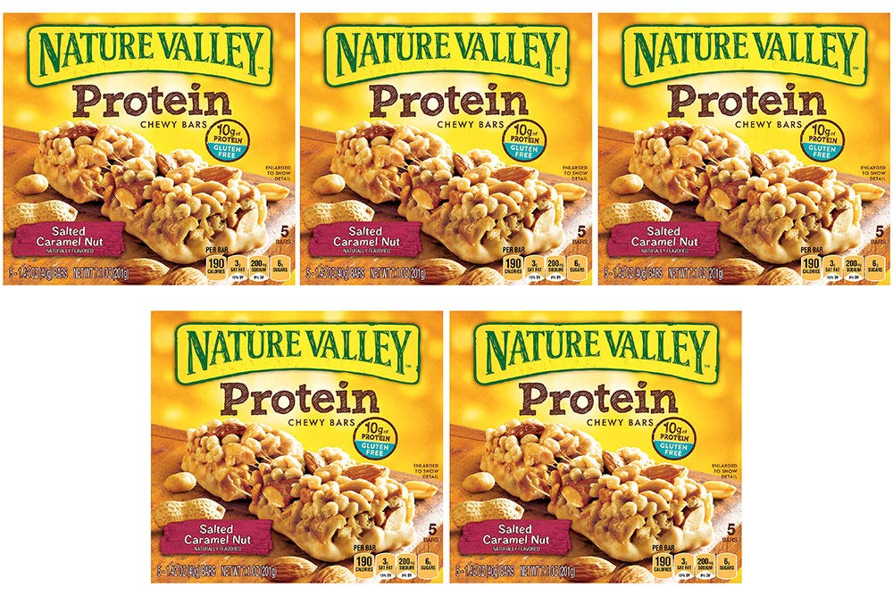 Nature Valley Chewy Granola Bar, Protein, Gluten Free, Salted Caramel Nut, 5 Bars (5 Boxes)