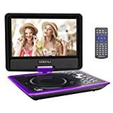 "COOAU 11.5"" Portable DVD Player with 9.5"" Swivel Screen, 5 Hours Rechargeable Battery, with Remote Control Game Joystick for Kids and Travelling, Supports SD Card/USB/Sync TV, Direct Play in Formats AVI/RMVB/JPEG/MP3, Purple"