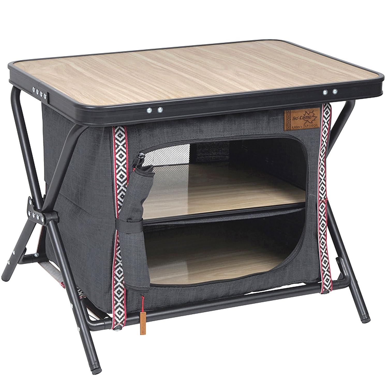 Bo Camp 1693657 Faltschrank Mayfair Camping Kleider Schrank Garderobe Tisch Zelt Schrank Küche Möbel Alu 43,5x60x48 cm
