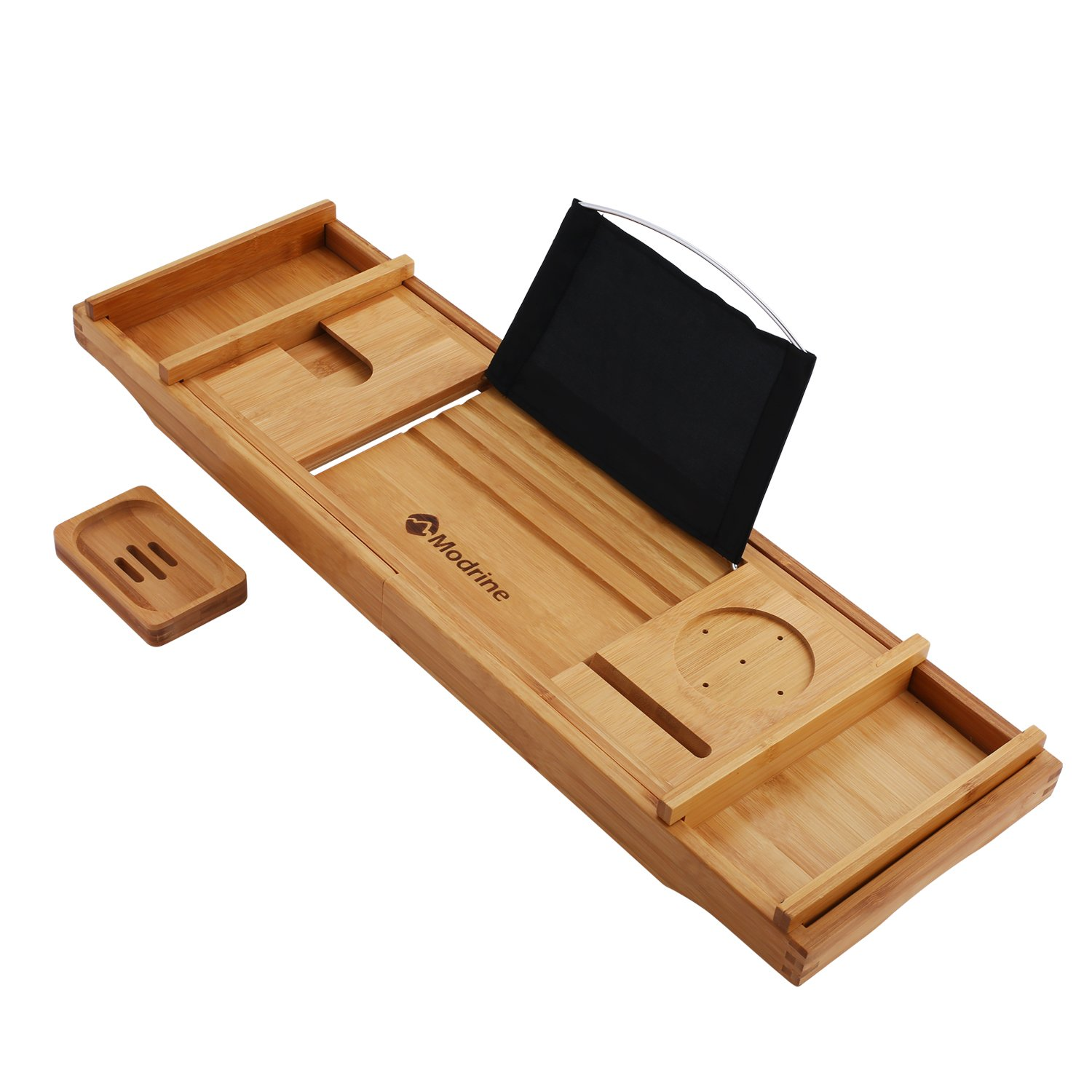 Modrine Expandable Bamboo Bathtub Caddy - Adjustable Wooden Serving Tray and Organizer for Any Size Bathtub - Phone and Tablet Compartments -Wine holder bathtub tray