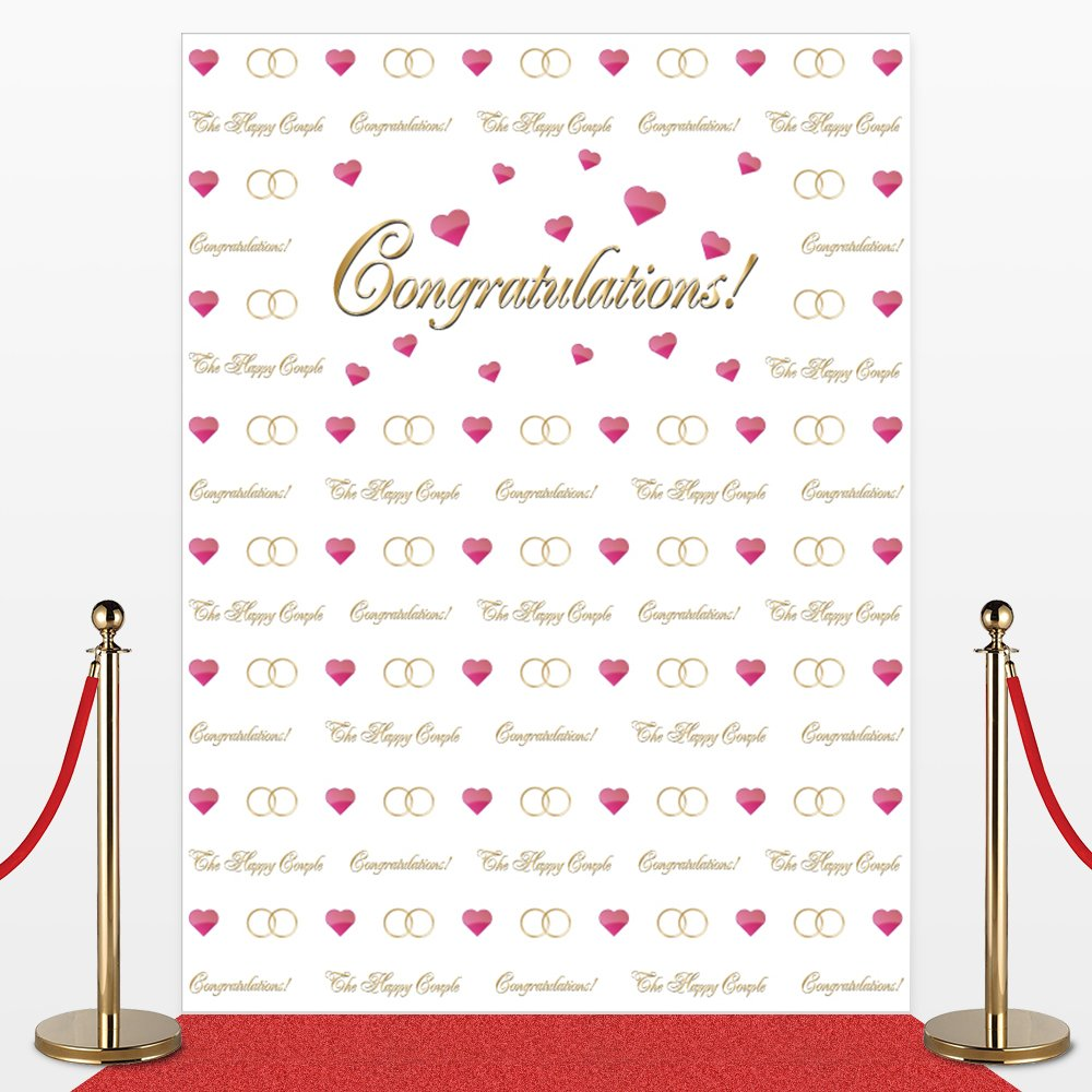 Photo Backdrop for Weddings,Receptions, No-wrinkle,Fabric,Seamless,Foldable Banner. Red Carpet Backdrop, Photography Studio Cloth Background, Non-Glare. 7' Tall and 5'3'' Wide. Made in USA.