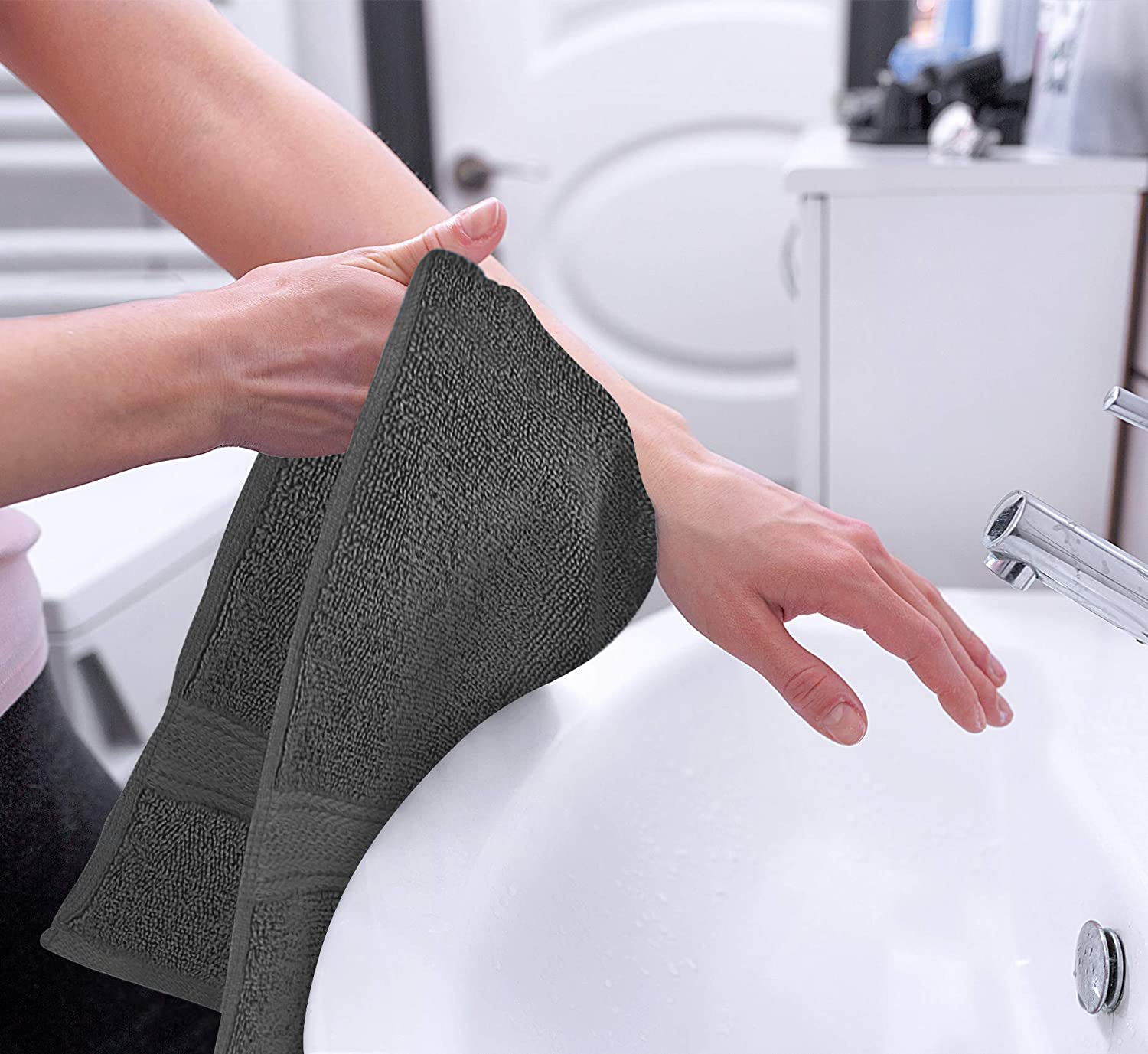 Utopia Towels Premium Grey Hand Towels - 100% Combed Ring Spun Cotton, Ultra Soft and Highly Absorbent, 600 GSM Exrta Large Hand Towels 16 x 28 inches, Hotel & Spa Quality Hand Towels (6-Pack): Home & Kitchen