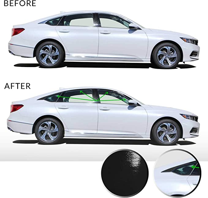 Gloss Black Optix Window Trim Chrome Delete Blackout Precut Vinyl Wrap Overlay Kit Compatible with and Fits Camry 2018 2019
