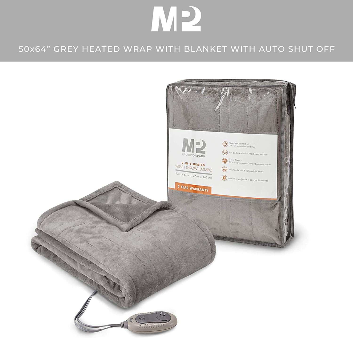 3 Heating Settings /& 2 Hours Auto Shut Off 50x 64 Grey MP2 Fleece Heated Blanket Wrap Shawl Wearable Electric Poncho Throw with Buttons