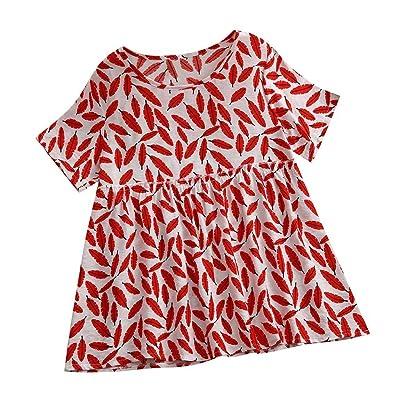 TUDUZ Blusas Mujer Manga Corta Verano Lino Camisas Cuello Redondo Camisetas Vintage Impreso Tops Suelto: Ropa y accesorios