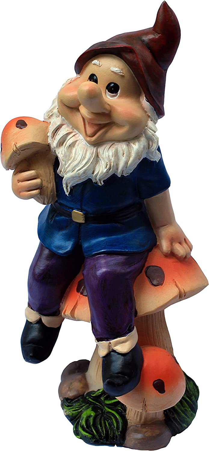Garden Gnome Statue Heigth 7.7 Inch Outdoor Decor Polyresin Gnome Holding Mashroom