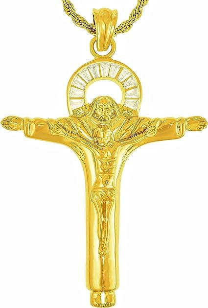 24k Shiny Gold Plated Jesus Necklace Necklace Pendant 25x27mm GLD-450 Jesus Charms Gold Plated Charms