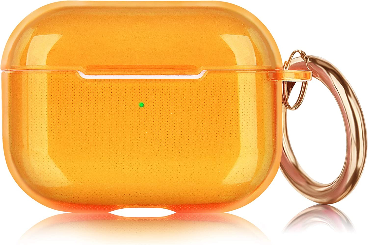AirPods Pro Case AIRSPO Clear Case for AirPods Pro Charging Case Soft TPU Airpod Pro Protective Case 2019 with Keychain Airpods 3 Protective Cover Skin (Neon Orange)