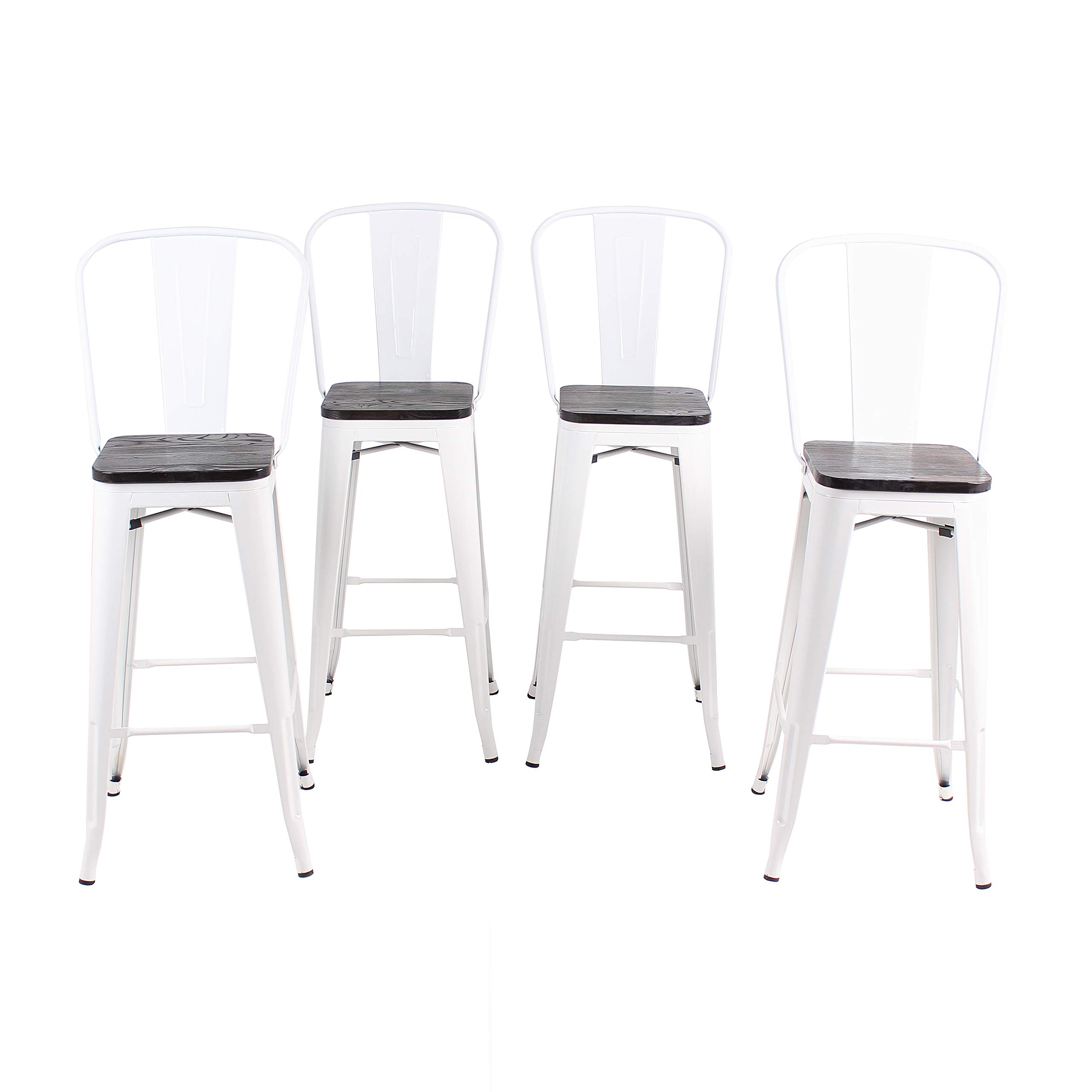 Buschman Set of 4 White Wooden Seat 24 Inch Counter Height Metal Bar Stools with High Back, Indoor/Outdoor by Buschman Store