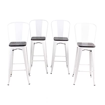 Awesome Buschman Set Of 4 White Wooden Seat 24 Inch Counter Height Metal Bar Stools With High Back Indoor Outdoor Gmtry Best Dining Table And Chair Ideas Images Gmtryco