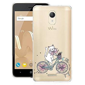 Funda para Wiko Jerry 2 ,DYSu Ciclismo de gato Transparente TPU Silicona Parachoques Suave Tapa Caso Protectores Carcasa Case Cubierta Cover para Wiko ...