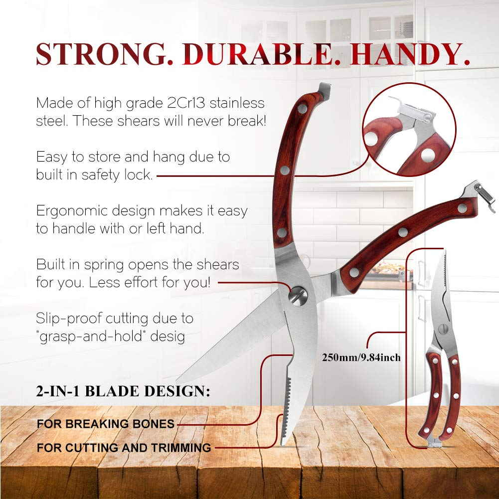 Chefs Grade Sharp Poultry Scissors (Cut Any Bone and Meat), Heavy Duty Stainless Steel Kitchen Scissors Made With Professional Blade and Spring Loaded Wood Handle, Food Scissors Perfect For BBQ Chicke by Swonuk (Image #3)