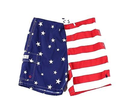 c22b55f9b13d2f Polo Ralph Lauren Men's American Flag Swim Trunks (Medium, Americana ...