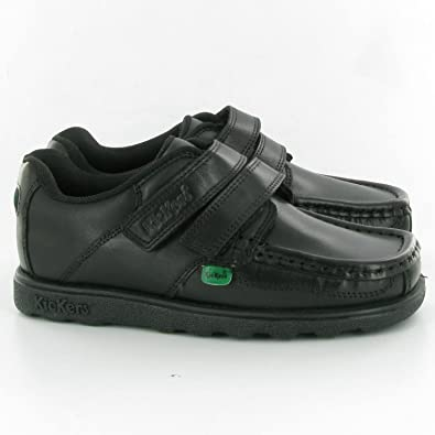 e99e01c57f Kickers Boys (Junior) Fragma Strap Black Leather School Shoes: Amazon.co.uk:  Shoes & Bags