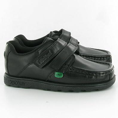 4b8848a7fcccb Kickers Boys (Youth) Fragma Strap Black Leather School Shoes: Amazon ...