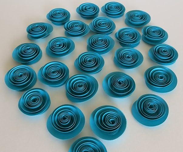 amazon com 24 turquoise blue paper roses dark teal wedding flowers